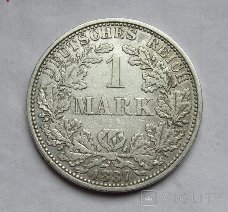 1 марка 1887 г. (А) Германия, серебро, фото №2