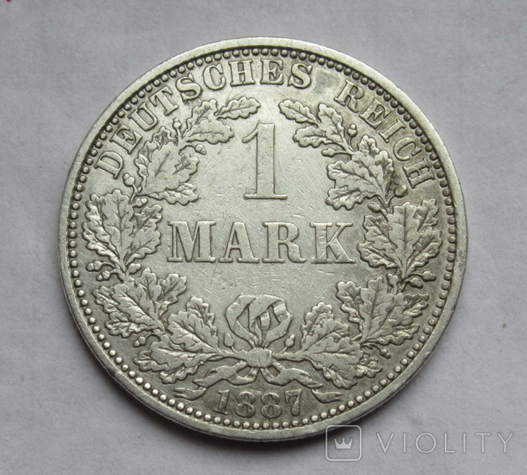 1 марка 1887 г. (А) Германия, серебро, фото №4