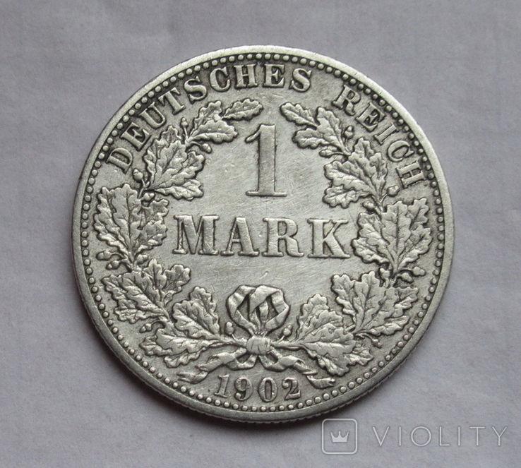 1 марка 1902 г. (F) Германия, серебро, фото №2