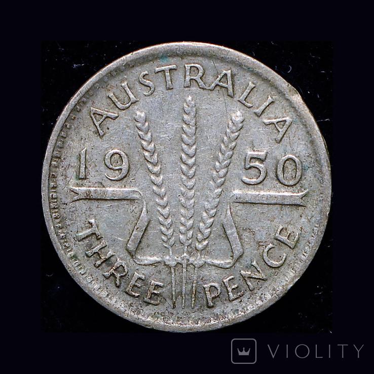 Австралия 3 пенса 1959 серебро, фото №2
