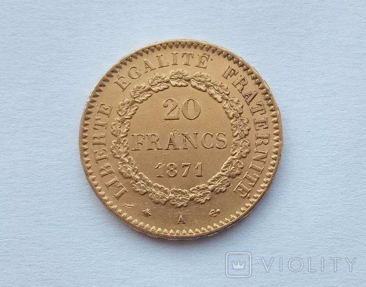 Франция 20 франков 1871 год, фото №4