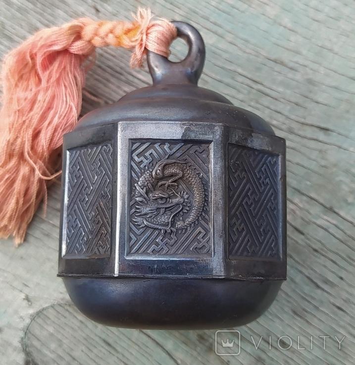 Серебряный колокольчик со свастикой, Япония, 19 век., фото №3