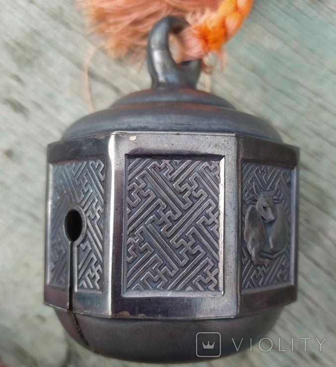 Серебряный колокольчик со свастикой, Япония, 19 век., фото №6