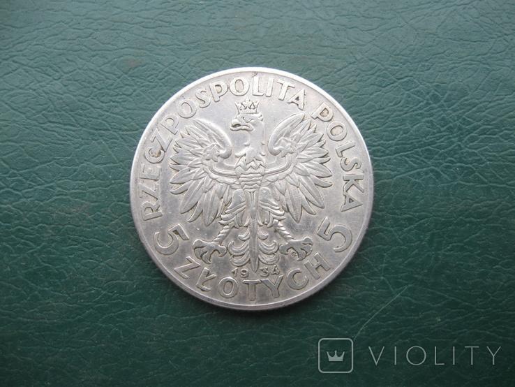5 злотых 1934 г.в. Польша, фото №3