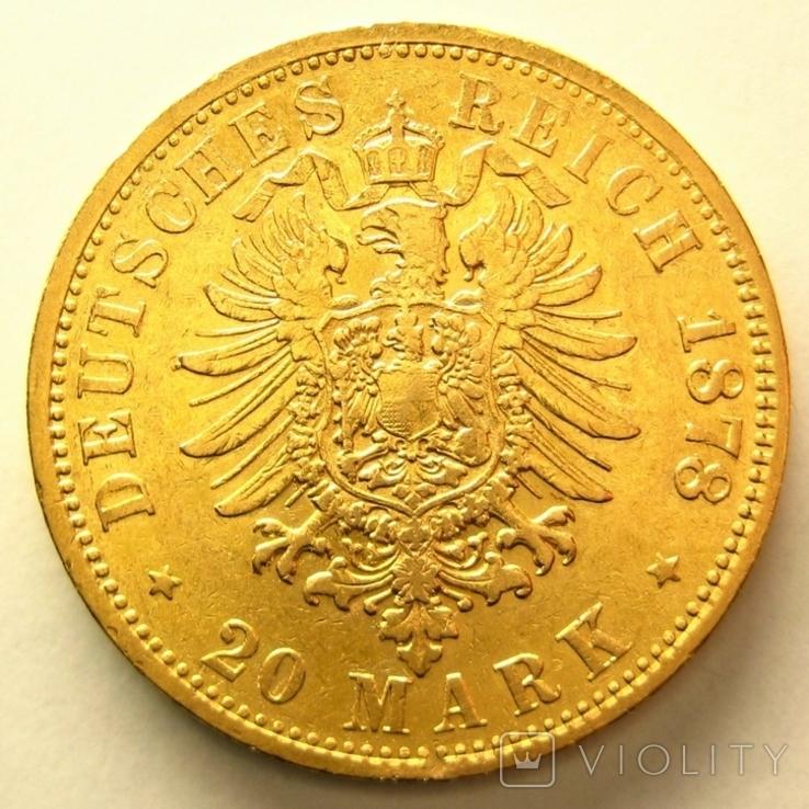Гамбург 20 марок 1878 г., фото №3