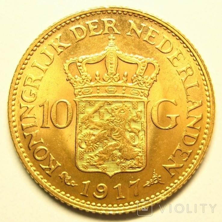 Нидерланды 10 гульденов 1917 г., фото №3