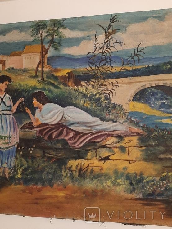 Две женщины 100х69см 1900-ые гг, фото №4
