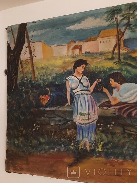 Две женщины 100х69см 1900-ые гг, фото №5
