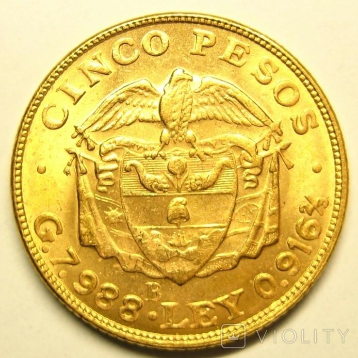 Колумбия 5 песо 1924 г., фото №3