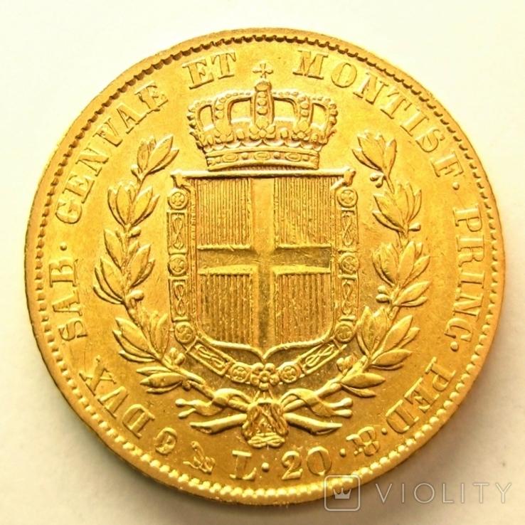 Сардиния 20 лир 1842 г., фото №3