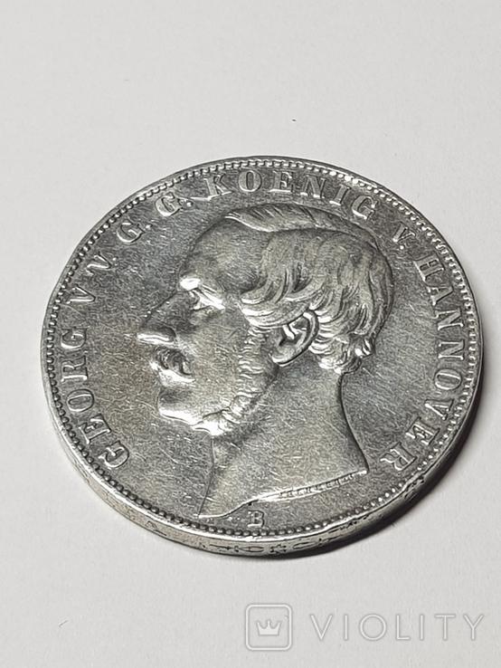 2Талєра1866р.Георг5 Ганновер,срібло36,89гр., фото №3