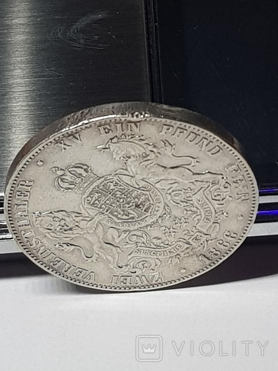 2Талєра1866р.Георг5 Ганновер,срібло36,89гр., фото №5