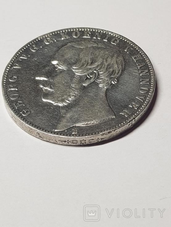 2Талєра1866р.Георг5 Ганновер,срібло36,89гр., фото №6