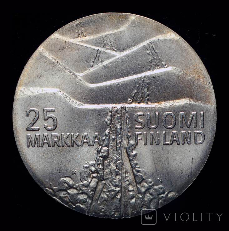 Финляндия 25 марок 1978 серебро 26,3 грамм, фото №2