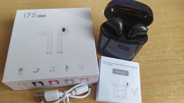 Наушники i7 Tws Bluetooth c зарядным боксом (чёрные), фото №2