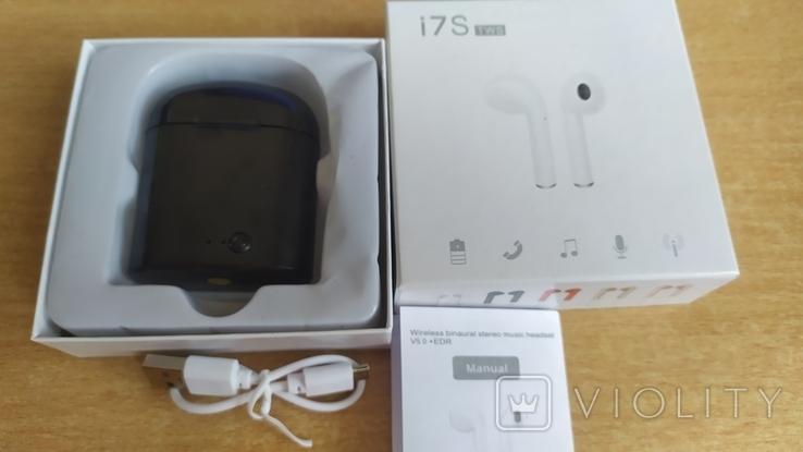 Наушники i7 Tws Bluetooth c зарядным боксом (чёрные), фото №7