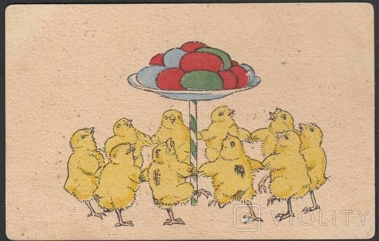 Почтовая открытка. Цыплята. Пасха., фото №2
