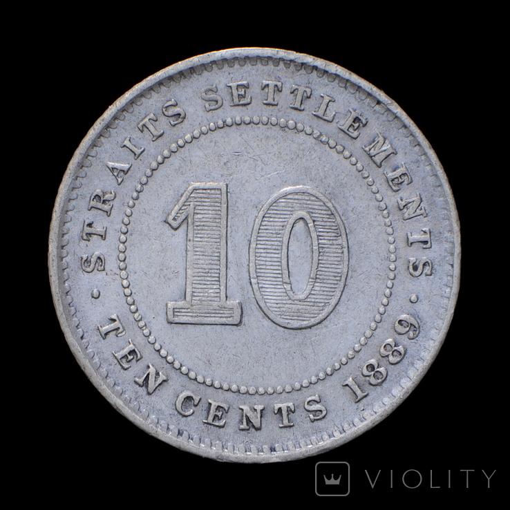 10 Центов 1889, Стрейтс Сеттлментс, фото №3