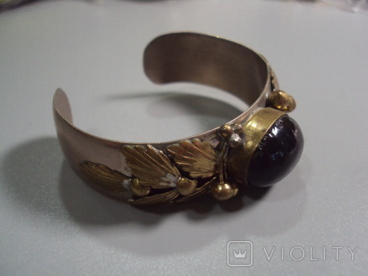 Жесткий браслет с листочками листья мельхиор толщина 2 см диаметр 5,7 см, фото №3