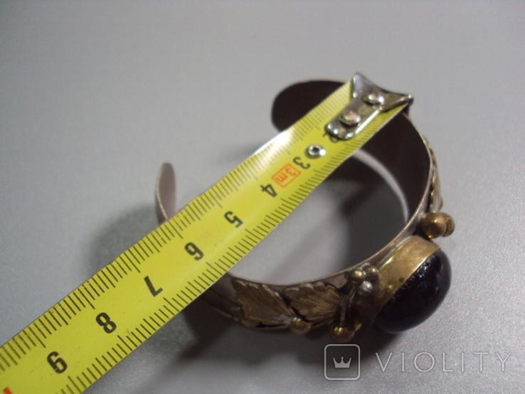 Жесткий браслет с листочками листья мельхиор толщина 2 см диаметр 5,7 см, фото №5