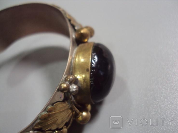 Жесткий браслет с листочками листья мельхиор толщина 2 см диаметр 5,7 см, фото №6