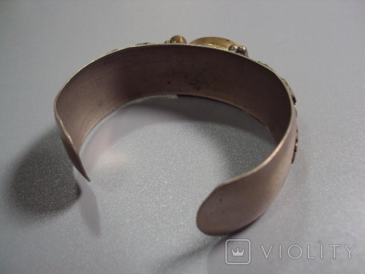 Жесткий браслет с листочками листья мельхиор толщина 2 см диаметр 5,7 см, фото №8