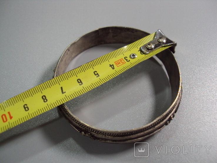 Жесткий браслет мельхиор толщина 1,9 см внутр. диаметр 6,7 см, фото №3