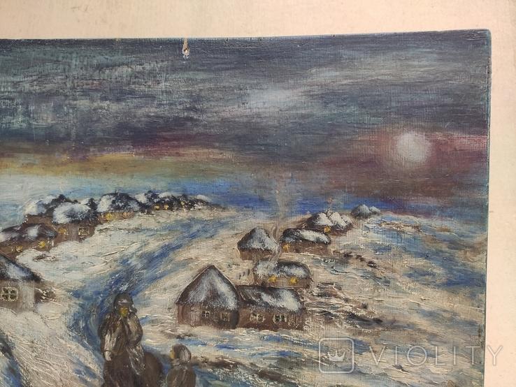 """""""Прощание на краю села"""". 1951г. 40х31. Масло. Фанера., фото №5"""
