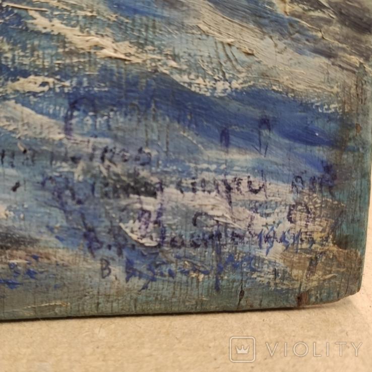 """""""Прощание на краю села"""". 1951г. 40х31. Масло. Фанера., фото №7"""
