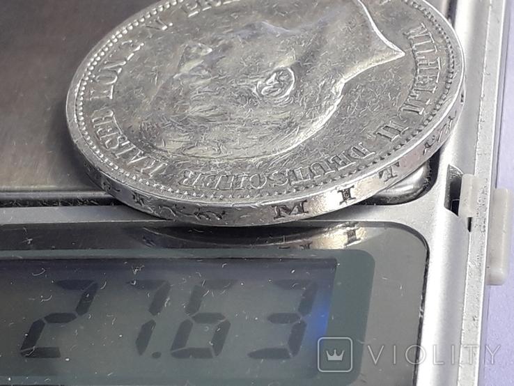 5 марок, Пруссия, император Вильгель II, 1898 год, серебро 0.900, 27.77 грамм, фото №4