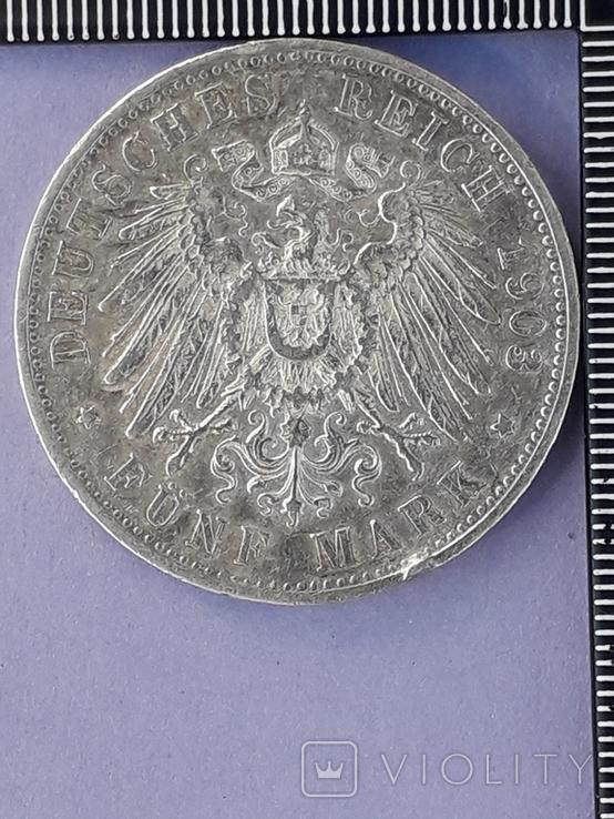 5 марок, Германская империя, Вюртемберг, 1903 год, серебро 0.900, 27.77 грамм, фото №3