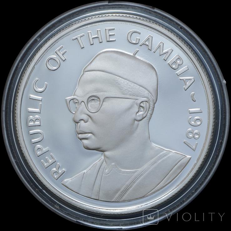 20 Даласи 1987 Всемирный фонд дикой природы (Серебро 0.925, 28.34г), Гамбия, фото №3