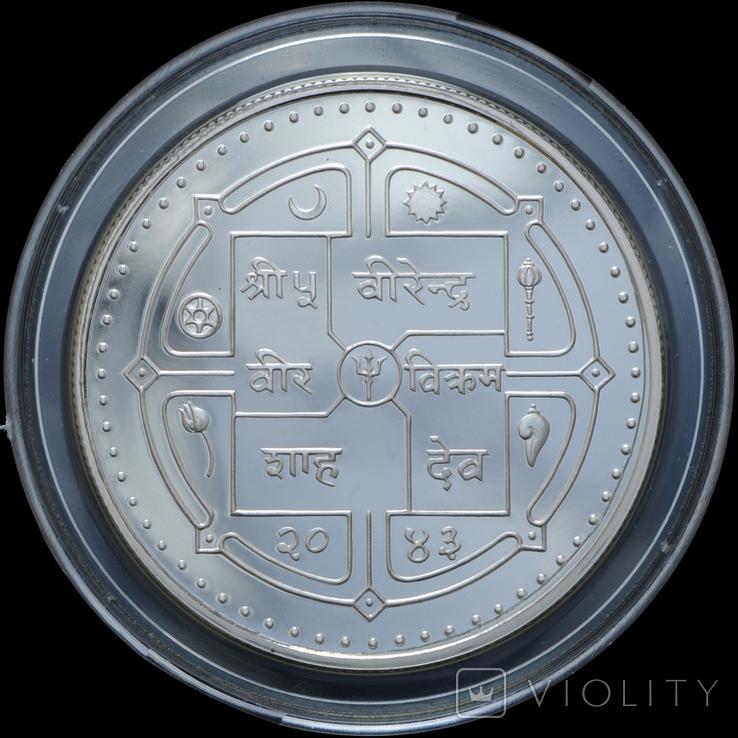 250 Рупий 1986 25 лет Всемирному фонду дикой природы (0.925, 19.44г), Непал, фото №3