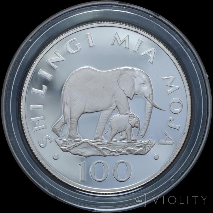 100 Шиллингов 1986 Слоны - 25 лет Всемирному фонду дикой природы (0.925, 19.44г), Танзания, фото №2