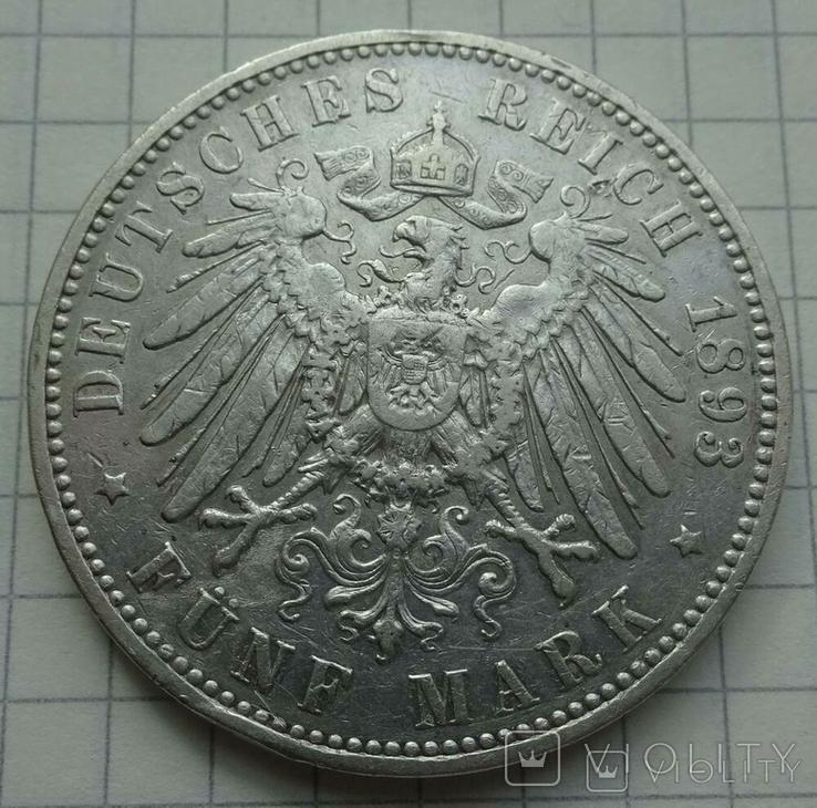 5 марок, 1893 год, Саксония,, фото №7