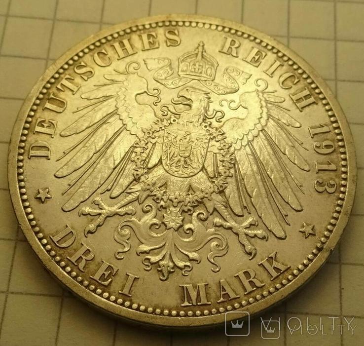 3 марки, Пруссия, 1913 год., фото №5
