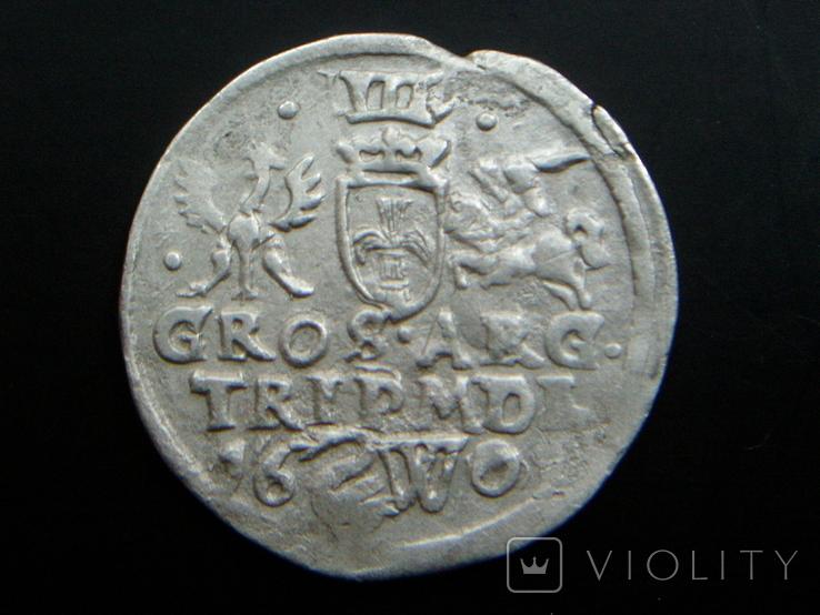 Трояк Литовский 1601 (Вильно W лебедь R5)., фото №2
