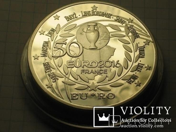 Монета футбол евро 2016 Франция большая, больше 60грамм в капсуле копия, фото №3