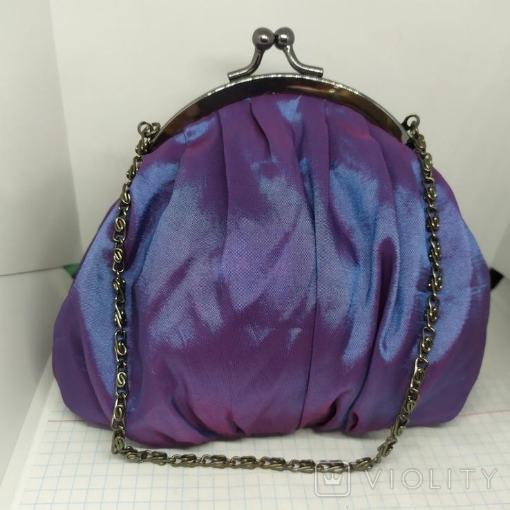 Вечерняя сумочка из тафты на цепочке. 16х15см без ручки. Новая, фото №2