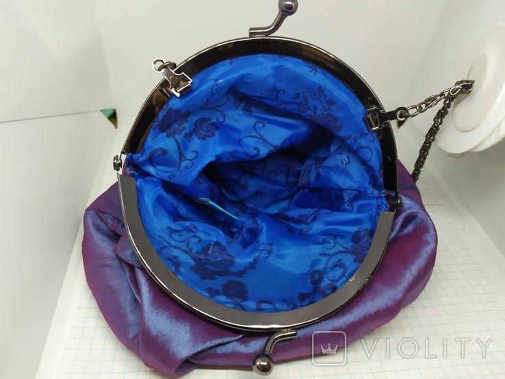 Вечерняя сумочка из тафты на цепочке. 16х15см без ручки. Новая, фото №7