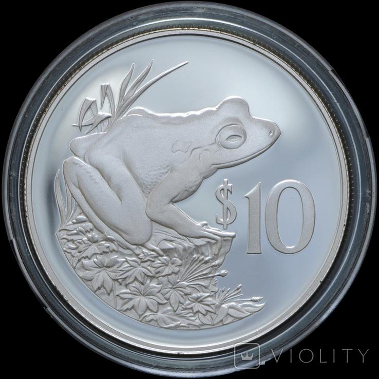 10 Долларов 1986 Жаба - 25 лет Всемирному фонду дикой природы (0.925, 28.28г), Фиджи, фото №2