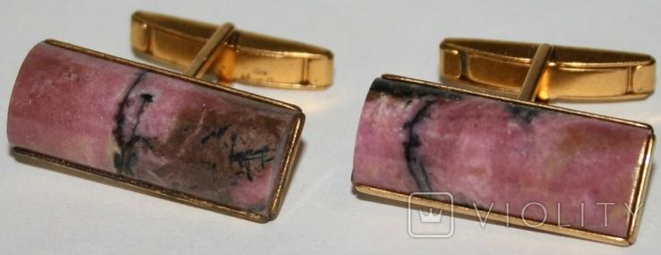 Латунные позолоченные запонки с камнем (СССР), фото №2