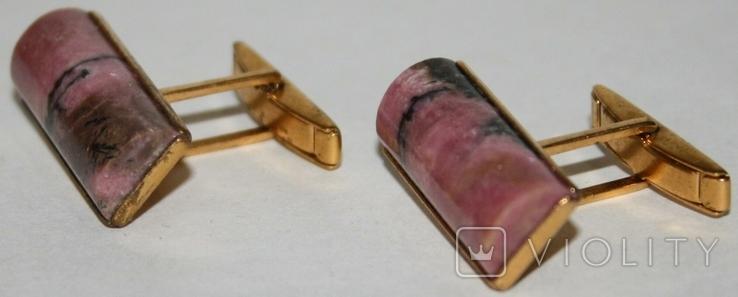 Латунные позолоченные запонки с камнем (СССР), фото №3
