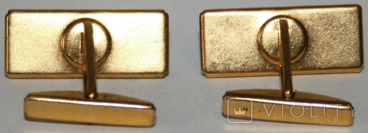 Латунные позолоченные запонки с камнем (СССР), фото №6
