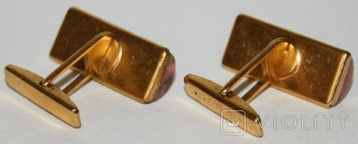 Латунные позолоченные запонки с камнем (СССР), фото №7