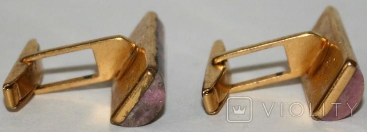 Латунные позолоченные запонки с камнем (СССР), фото №8