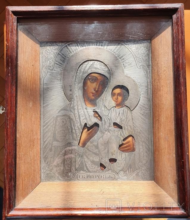 Икона Богородицы Иверская. Серебро 84пр. Модерн., фото №4
