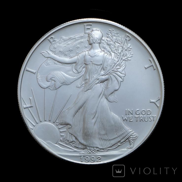 1 Доллар 1992 Шагающая Свобода (Серебро 0.999, 31.1г) 1oz, США Унция, фото №2