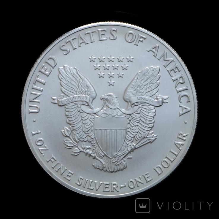 1 Доллар 1992 Шагающая Свобода (Серебро 0.999, 31.1г) 1oz, США Унция, фото №3