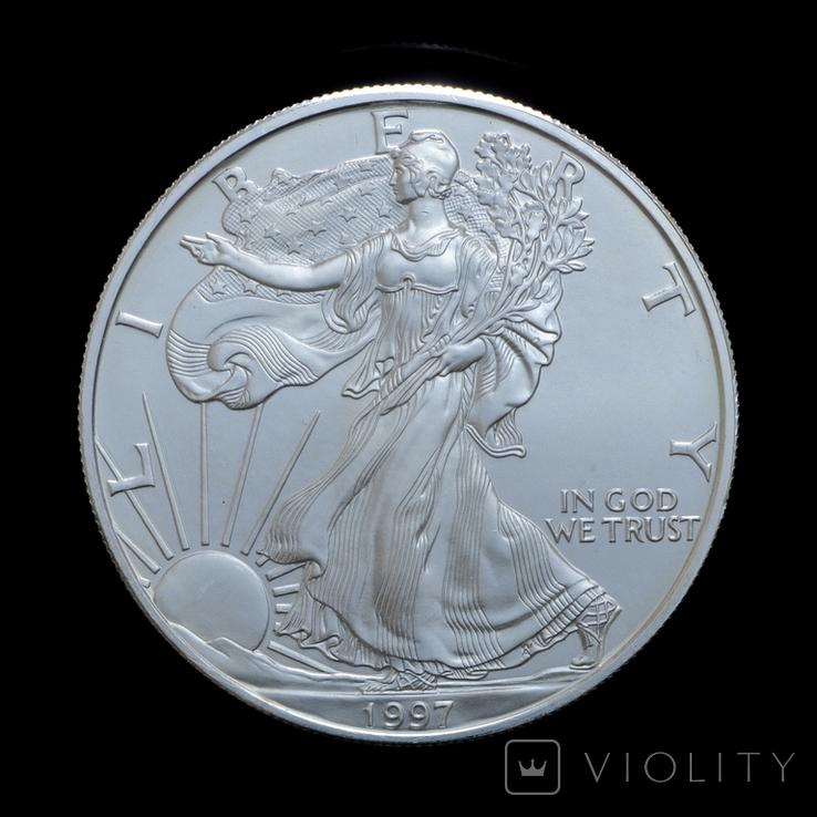 1 Доллар 1997 Шагающая Свобода (Серебро 0.999, 31.1г) 1oz, США Унция, фото №2